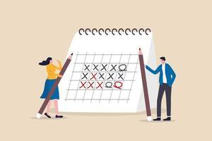 Büroangestellte, die große Stifte halten und Projektzeitpläne mit einem Kalender besprechen vektor