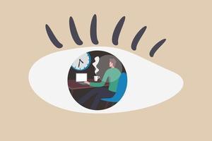 micromanagement, chef tittar på stressad anställd arbetar