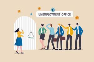 arbetslösa som bär ansiktsmasker i kö för ett jobb vektor
