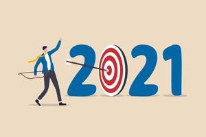 nytt år 2021 upplösning, affärsstrategiplan och måluppfyllelse med mål vektor