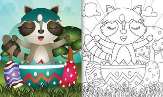 målarbok för barn tema glad påskdag med karaktärsillustration av en söt tvättbjörn i ägget vektor