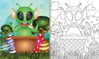 """Malbuch für Kinder unter dem Motto """"Happy Easter Day"""" mit Charakterillustration eines niedlichen Außerirdischen im Eimerei vektor"""