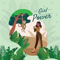 Frauen Ranger mit Affen in einem Wald vektor
