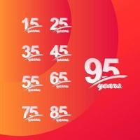 95 års jubileumsfärg full linje elegant uppsättning firande vektor mall design illustration
