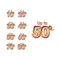rabatt upp till 50 rabatt på etikettförsäljningslinje gradient set logo vektor mall design illustration