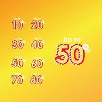 rabatt upp till 50 rabatt på etikett försäljning linje logotyp vektor mall design illustration