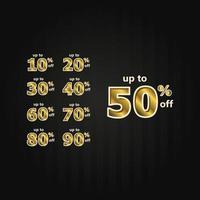 rabatt upp till 50 rabatt på etikettpris gulduppsättning vektor mall design illustration