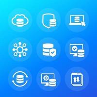 databas, datalagring och säkerhetsvektorikon vektor