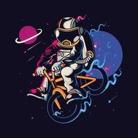 Astronauten-Zeichentrickfigur, die Fahrrad fährt vektor