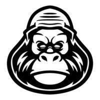 Gorilla-Logo-Designvektor mit modernem Illustrationskonzeptstil für Abzeichen-, Emblem- und T-Shirt-Druck. Wildtier-Konzept. wütende Affengorillaillustration für Sport- und E-Sport-Team vektor