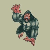 arg gorillaapa. djur primater odjur mystiker isolerad på grå bakgrund. kong maskot logo design vektor med modern illustration koncept stil för badge, emblem och t-shirt utskrift.