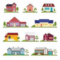 uppsättning av olika radhus byggnad lägenhet och träd. hus exteriör vektor illustration framifrån med tak i platt design. handritad trendig illustration. hemfasad med dörrar och fönster
