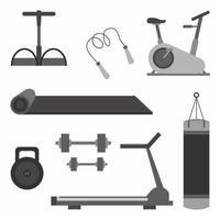 Set verschiedene Geräte für das Fitnessstudio. aktives Lifestyle-Zubehör. Fitness oder Fitnessstudio Powerlifting Tools Thema im Cartoon-Stil. Training, Bodybuilding lokalisiert auf weißem Hintergrund. Vektor flache Symbole