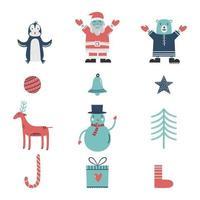 samling av söt god jul och gott nytt år. julkaraktär och dekoration. uppsättning handritade semestermallar, vykortdesign. vektorillustration på vit bakgrund vektor