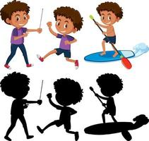 uppsättning av en pojke seriefigur i olika positioner med sin silhuett vektor
