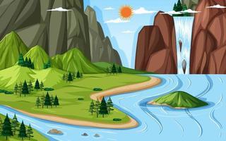 land och vatten geografi landskap vektor