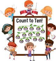 Zählen Sie bis zehn Nummerntafel mit vielen Zeichentrickfiguren für Kinder vektor