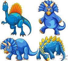 uppsättning blå dinosaurie seriefigur vektor