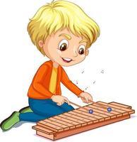 Charakter eines Jungen, der Xylophon auf weißem Hintergrund spielt vektor