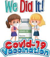 covid-19 Impfschrift mit Zeichentrickfigur von Mädchen vektor