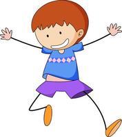 ein glücklicher Junge kritzelt Zeichentrickfigur isoliert vektor