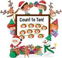 räkna till tio nummerbräda med många barn i jultema vektor