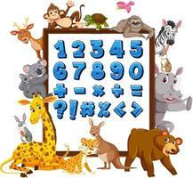 nummer 0 till 9 och matematiska symboler på banderoll med vilda djur vektor