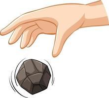 Hand fallender Stein für Schwerkraftversuch vektor