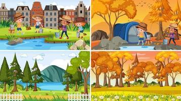 uppsättning av olika natur scener bakgrund i tecknad stil