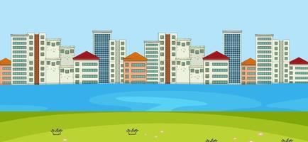 horisontell scen med flod- och stadsbildsbakgrund vektor