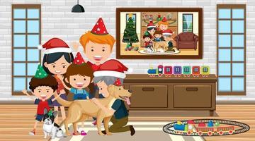 lycklig familj som bär juldräkt i vardagsrumsscenen vektor