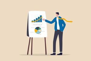 Unternehmenspräsentation, professioneller Redner zur Präsentation des Arbeitsfortschritts oder des Anlageportfoliokonzepts vektor