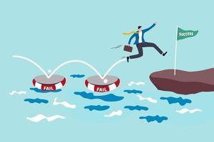 misslyckas med framgång, använder misslyckande att lära sig lektion och kreativitet för att uppnå affärsframgångskoncept vektor