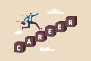Karriereentwicklung, persönliche Entwicklung oder Jobförderung, Konzept für Berufserfahrung und Verantwortungswachstum, kluger, selbstbewusster Geschäftsmann, der schnell auf der Karrieretreppe läuft, um Erfolg zu haben. vektor