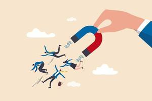 Personalrekrutierung von Kandidaten oder Talenten, Marketing zur Gewinnung oder Gewinnung neuer Kunden oder Führungs- und Charmekonzept vektor
