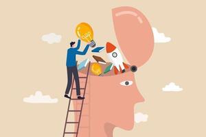 kompetens, lära sig nya saker eller kunskapsutveckling för nya färdigheter och förbättra arbetskvalificeringskonceptet vektor