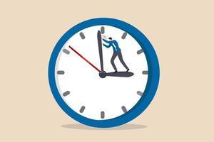 Drehen Sie die Zeit zurück, um Fehler, unvermeidliche Fehler oder Dringlichkeit zu ändern oder zu beheben vektor