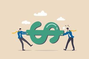 Kampf um Geld, Tauziehen, Konkurrenzkampf um Marktanteile oder Arbeitskonfliktkonzept vektor