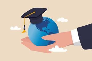 Studium im Ausland Weltbildungslehrplan, Schule, Hochschule und Universität in Übersee oder internationales akademisches Konzept vektor