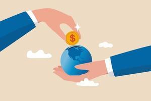 internationell ekonomi, globala investeringar, finansiella möjligheter runt om i världen, utvecklad marknad och koncept för tillväxtmarknader vektor