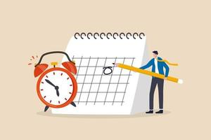 Planen Sie einen Geschäftstermin, ein wichtiges Datum, einen Arbeitsprojektplan oder ein Erinnerungskonzept vektor