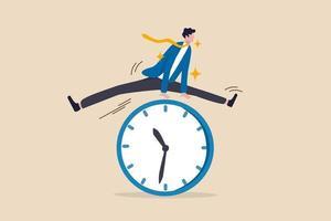 smart tidshantering, framgång i arbetsstrategi vid tidsfrist eller arbetstidseffektivitetskoncept vektor