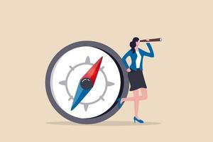 kvinnligt ledarskap, kvinnas vision att leda riktning, jämställdhet för att omfamna kvinnan i företagsledningskonceptet vektor