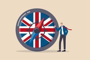 Großbritannien, Vereinigte Königreich wirtschaftliche Richtung nach dem Brexit-Deal, Geschäftsvereinbarung und Politik, um das Konzept der englischen Wirtschaftsstrategie voranzutreiben vektor