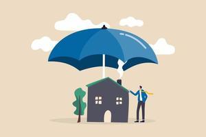 Hausversicherung, Hauskatastrophe versichern Deckung oder Sicherheit oder Schutzschild für Wohngebäudekonzept vektor