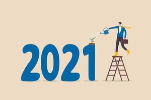 år 2021 ekonomiskt återhämtat sig efter covid-19 coronavirusutbrott, växer affärer upp från regeringens stimulanspolitiska koncept vektor