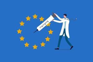 EU-Impfstoffimplementierung, Forschungskonzept für Covid-19-Coronavirus-Impfungen der Europäischen Union vektor