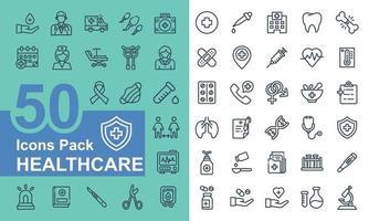 medicinska och sjukvård ikon pack vektor