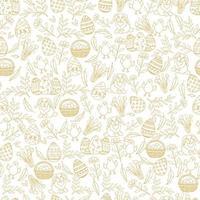 Nahtloses Muster Ostern mit goldenen Ostersymbolen im Skizzenstil. Layout für Feiertage. Das nahtlose Muster kann für Musterfüllungen, Hintergrundbilder, Webseitenhintergrund und Oberflächentexturen verwendet werden. vektor