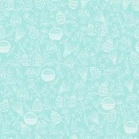 Nahtloses Muster Ostern mit Oster-Symbolen im Skizzenstil. Layout für Feiertage. Das nahtlose Muster kann für Musterfüllungen, Hintergrundbilder, Webseitenhintergrund und Oberflächentexturen verwendet werden. vektor